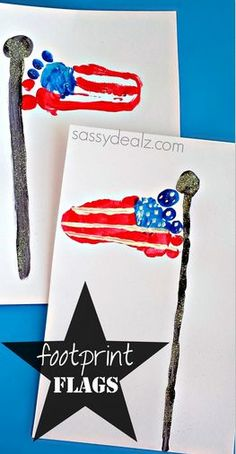 Footprint American Flag Craft for Kids - Easy 4th of July craft