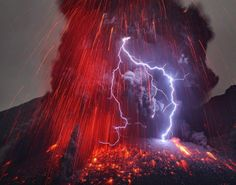 Sakurajima in Japan erupts into an explosive volcanic lightning storm in February 2013.