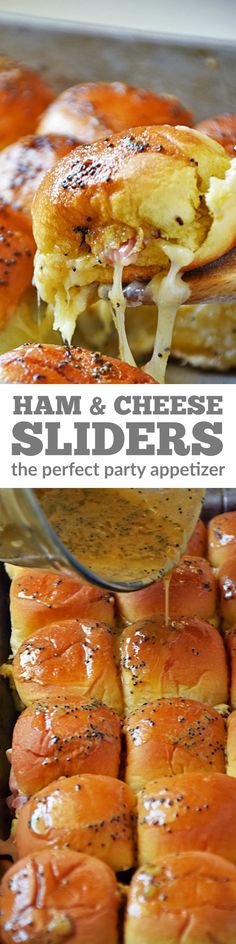 Baked Ham and Cheese Sliders - are the perfect party appetizer this summer! This easy recipe, loaded with ham and cheese, is topped with a buttery mustard glaze to give these sliders a flavor explosion and then baked to ooey gooey cheesy deliciousness! Ham Cheese Sliders, Ham And Cheese, Baked Cheese, Baked Ham, Oven Baked, Appetizers For Party, Appetizer Recipes, Party Appetisers, Appetizer Dinner