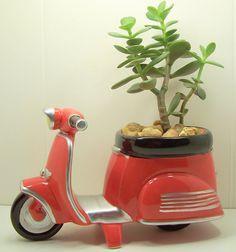 Succulent Jade planter Red Scooter diy kit Desk Accessories Dorm Room Decor. $29.99, via Etsy.
