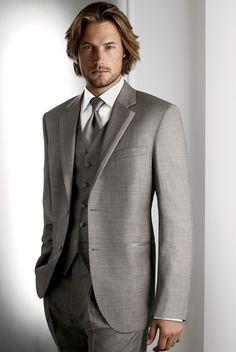 Gray tux to rent for groomsmen - no vest, but tie match bridesmaids