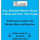 Phonics Advantage Easy Printable Phonics Poems  include 15 short phonics poems for the student to read and color.  Poems that teach phonics are an ...