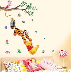 Pooh árbol Animal de la Historieta pegatinas de Vinilo de Pared para niños habitaciones BRICOLAJE decoración para el hogar Wallpaper Niño Adhesivos 3D Casa de Diseño decoración