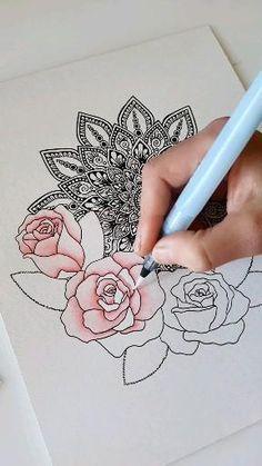 Mandala Doodle, Easy Mandala Drawing, Mandala Sketch, Mandala Art Therapy, Mandala Art Lesson, Mandala Artwork, Design Art Drawing, Doodle Art Drawing, Art Drawings Beautiful