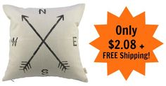 Compass Pillow Cover Only $2.08 + FREE Shipping!