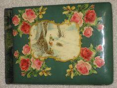 Antique Vintage 1902 Celluloid Autograph Book Album Christmas Winter Scene, Rose