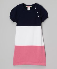 Look at this Sophie & Sam White & Pink Color Block Shift Dress - Toddler & Girls on #zulily today!