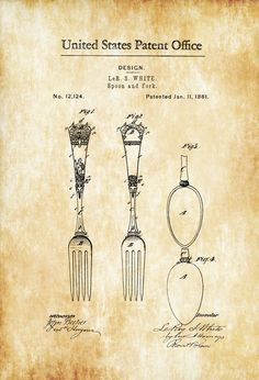 1881 Victorian Spoon and Fork Patent - Kitchen Decor Restaurant Decor Patent Print Wall Decor Chef Gift Cooking Patent Cook Gift by PatentsAsPrints Wall Prints, Poster Prints, Art Print, Giclee Print, Posters, Victorian Spoons, Patent Drawing, Gifts For Cooks, Patent Prints