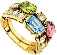 Bvlgari Allegra Two-Band 18ct Yellow-Gold, Pink Tourmaline, Peridot, Blue Topaz and Pavé #Diamond Ring - for Women