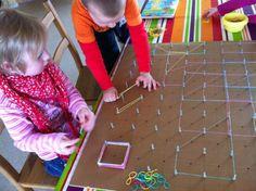 Een groot geobord voor meerdere kinderen! Bijvoorbeeld om vlakke figuren op te oefenen.