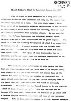 Edward Teller's memo to President Reagan requesting approval for Strategic Defense Initiative.  1 of 5.  Earthfiles.com