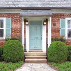 Best Front Door Colors For Red Brick House Uk Front Door Brick House Front Door Colors Pink Brick House One Of My Favorite Colors Farrow And Balls Dix Blue A Lovely Green Gray With The Slightest Tinge Best Front Door Colors, Best Front Doors, Front Door Paint Colors, Painted Front Doors, Paint Colors For Home, Exterior Door Colors, House Paint Exterior, Exterior Doors, Orange Brick Houses