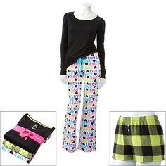 SO 3-pc. Printed Pajama Gift Set - Juniors'- Black- Kohls, $24