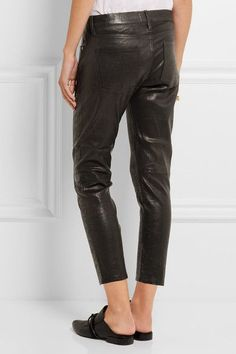 FRAME - Le Garcon Cropped Stretch-leather Slim Boyfriend Pants - Black -