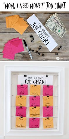 My kids are pretty good about helping out around the house without having to resort to monetary rewards, but sometimes a little incentive can go a long way. :-) When my kids are looking to make some extra money.this simple and effective job chart takes Need Money, How To Make Money, Kids And Parenting, Parenting Hacks, Chore Board, Vogue Kids, Chore Chart Kids, Family Chore Charts, Chore List