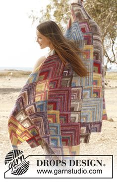 """Free pattern: Knitted DROPS blanket with domino squares in """"Fabel"""". ~ #DROPSDesign #Garnstudio"""