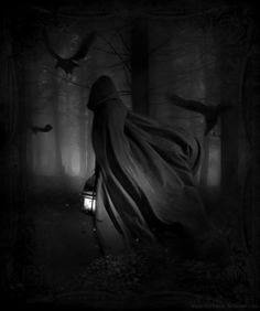 Black and white; girl; photography; art; darkness; forest; cloak.
