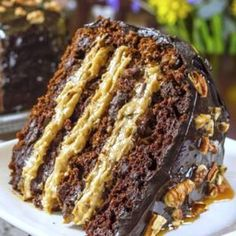 single slice of chocolate caramel and pecan cake ready to enjoy Creme Caramel, Caramel Pecan, Gourmet Recipes, Baking Recipes, Dessert Recipes, Yummy Recipes, Cake Recipes, German Chocolate, Chocolate Cake