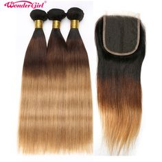 Ombre Bundles With Closure Straight Hair Bundles With Closure Wonder girl Blonde Ombre, Ombre Hair, Weave Hairstyles, Straight Hairstyles, Moisturize Hair, Split Ends, Human Hair Extensions, Hair Lengths, Wigs