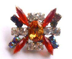 Stunning Orange Rhinestone Button Czech Beading by CrimsonVintique, $15.00