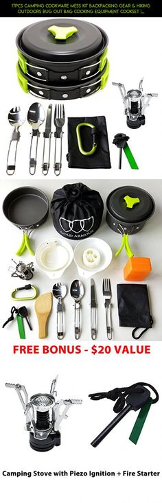17Pcs Camping Cookware Mess Kit Backpacking Gear & Hiking Outdoors Bug Out Bag Cooking Equipment Cookset | Lightweight, Compact, & Durable Pot Pan Bowls (Green) #gadgets #kit #shopping #fpv #camera #outdoor #cooking #for #parts #plans #racing #technology #drone #equipment #products #camping #tech