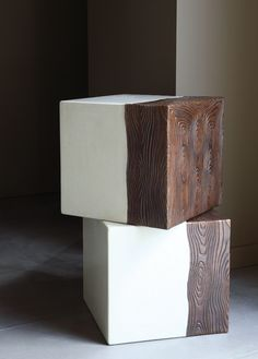Side tables, by Robert Kuo with hand hammered copper wrap Graffiti Furniture, Concrete Furniture, Table Furniture, Furniture Design, Buy Furniture Online, Small Tables, Side Tables, Furniture Assembly, Repurposed Furniture
