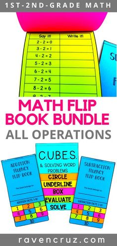 Whether you are teaching distance learning, homeschool, or classroom math, these 2nd-grade mathematics flipbooks are a great addition to your curriculum. The flip books cover the CUBES math strategy for word problems, addition practice, and subtraction practice. #mathwithraven Cubes Math Strategy, Math Strategies, Math Resources, Math Activities, Homeschool Math, Curriculum, Homeschooling, Flip Books, Second Grade Math