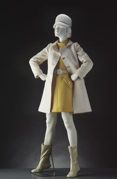 Ensemble, wool with metal and vinyl, André Courrèges designer, French, 1965
