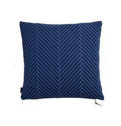 Fluffy Herringbone Pillow in Dark Blue design by OYOY – BURKE DECOR