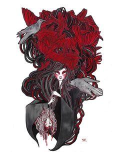 Seven Deadly Sins 'Wrath' Art Print by Gina Martynova - X-Small Wrath Seven Deadly Sins, 7 Sins, Goth Art, Art Portfolio, Canvas Prints, Art Prints, Illustration, Dark Art, Tattoos