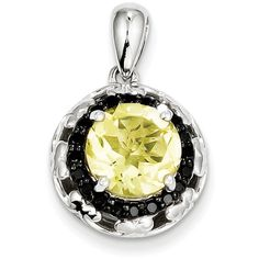 Sterling Silver Lemon Quartz and Black Diamond Pendant ($80) ❤ liked on Polyvore featuring jewelry, pendants, sterling silver, black diamond jewelry, pendant jewelry, black diamond jewellery, polish jewelry and sterling silver charms pendants