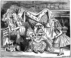 There's certainly too much pepper in that soup!' Alice said to herself, as well as she could for sneezing. — Alice in Wonderland (1865). Chapter VI: Pig and Pepper. Note the cook's pepper mill.