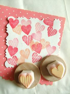 Hand carved heart rubber stamp