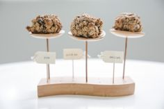 Bamboo Skewers with mini appetizer dishes and healthy oat cookies. Skewers from bioandchic.com