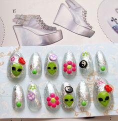90s nails fake nail alien 90s fashionpress on nail by Aya1gou