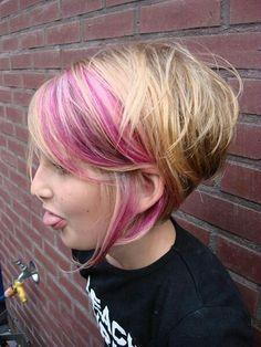 Funky Blonde pink graduated bob