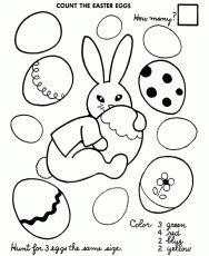 Easter Egg Coloring Pages - Color and Count Coloring Sheet
