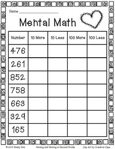 Second Grade Mental Math Freebie