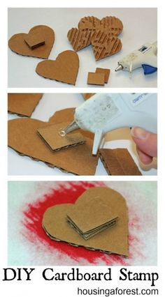 DIY Cardboard Stamp ~ simple stamps that your kids can make. I love the texture the cardboard creates! DIY Cardboard Stamp ~ simple stamps that your kids can make. I love the texture the cardboard creates! Kids Crafts, Craft Projects, Foam Crafts, Diy Karton, Make Your Own Stamp, Stamp Carving, Handmade Stamps, Stamp Printing, Screen Printing