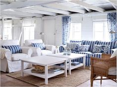 coastal inspired blue and white