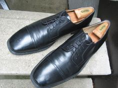 J MURPHY by Johnston & Murphy Mens Used Black Leather Oxfords 14