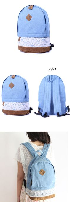 Fresh Denim Bow Lace Student Backpack only $35.9