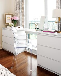 Love this small space IKEA dresser hack that transforms two pieces of furniture into a desk as well.