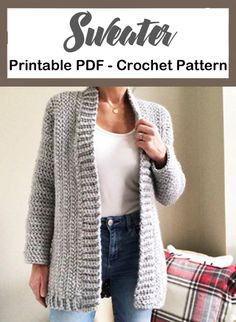 Make a Cozy Cardigan sweater – Crochet 2020 Pull Crochet, Crochet Coat, Crochet Clothes, Crochet Sweaters, Diy Crochet, Chunky Crochet, Crochet Cardigan Pattern Free Women, Knit Cardigan Pattern, Crochet Shrug Pattern