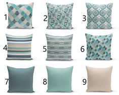 Mix and Match throw pillow cover design. Each of these is designed to coordinate with each other. Listing is for one pillow cover. Individually cut and sewn, features a 2 sided print and is finished with a zipper for ease of care. Sofa Pillow Covers, Pillow Cover Design, Sofa Pillows, Sofa Throw, Pillow Set, Blue Pillows, Accent Pillows, Home Design, Geometric Cushions