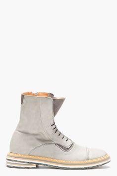 MAISON MARTIN MARGIELA Grey Leather Layered Sole Boots