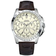 Guess Men's U13570G2 Brown Stainless-Steel Quartz Watch with White Dial GUESS. Save 7 Off!. $125.00. Quartz Movement. 46mm Case Diameter. Mineral Crystal. 100 Meters / 330 Feet / 10 ATM Water Resistant