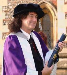 Brian May receiving his PhD in astrophysics in 2008, after taking 30 years off from his studies to be a rock star.