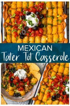 A lovely twist on the classic casserole this Mexican Tater Tot Casserole is a mixture of taco meat beans corn and cheese topped with tater tots and enchilada sauce. The family will love this one dish meal with a spicy kick! Mexican Tater Tot Casserole, Casserole Dishes, Casserole Recipes, Beef Recipes, Mexican Food Recipes, Cooking Recipes, Mexican Meals, Recipies, Tacos And Salsa