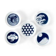 KIHARA/Mamezara 5種セット(季節) 3150yen 縁起の良い伝統柄をモチーフにした豆皿の5枚セット